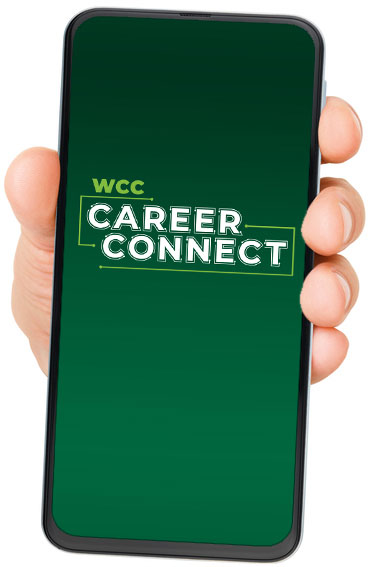 hand holding smart phone with career connect logo on screen